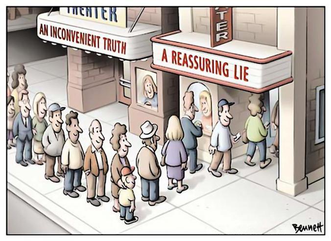 Viñeta de Bennet. Carteleras: Una verdad incómoda en un teatro y una mentira reconfortante en el otro.