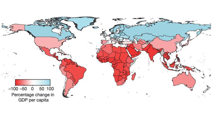 Más rojo el color, más grave es el impacto. (Burke, Hsiang, y Miguel (Nature, 2015))